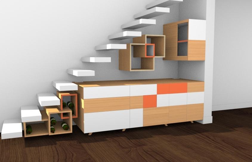 rendu réaliste buffet sous escalier par ebenisterie 111