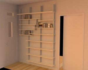 Bibliothèque sycomore et blanc
